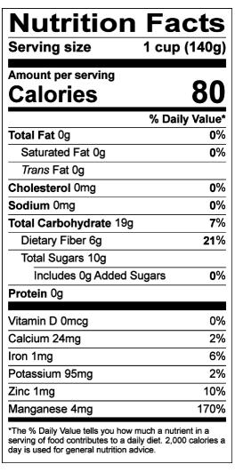 Información nutricional de acuerdo a la Base de datos nacional de nutrientes del USDA